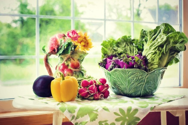 Vegetables in spring time with flowers